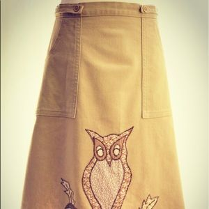 1970's Khaki wrap skirt with embroidered owl