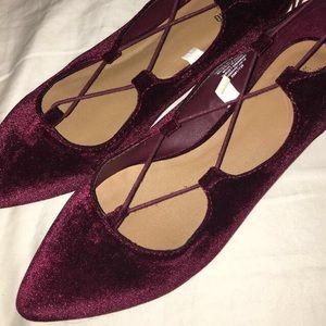 VELVET Burgundy Lace Up Flats