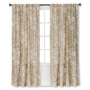 Beige Jacobean curtains 1 pair / 2 panels
