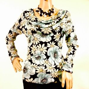 Karen Kane Floral Draped Neck Top