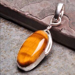 Asos Jewelry - Healing Gold Tigers Eye Pendant - 925 Sterling
