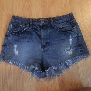 Guess Pants - guess high waist jean shorts