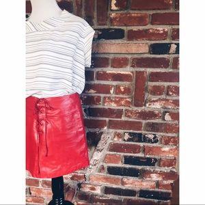 Vtg 90s Red Vegan Leather BOHO Mini Skirt SM