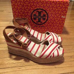 Tory Burch Karissa red/white Espadrille shoes - 8B
