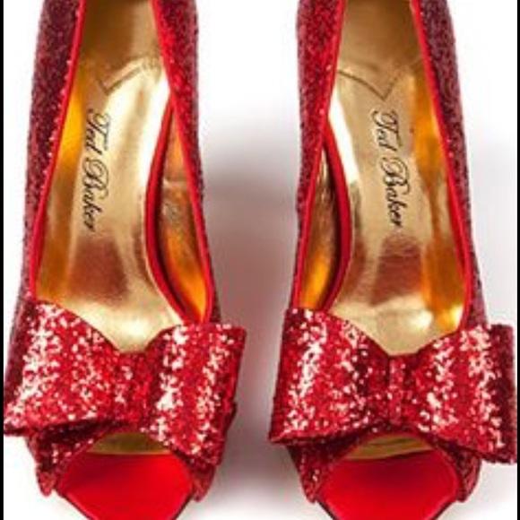 cb5b5aa753ed0 Ted Baker Fleur Pump Red Glitter Bow