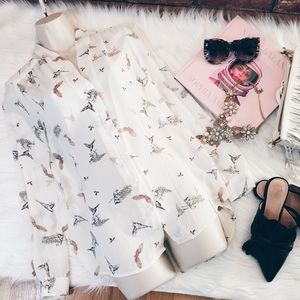 Dalia Sheer Button Hummingbird Print Blouse XS