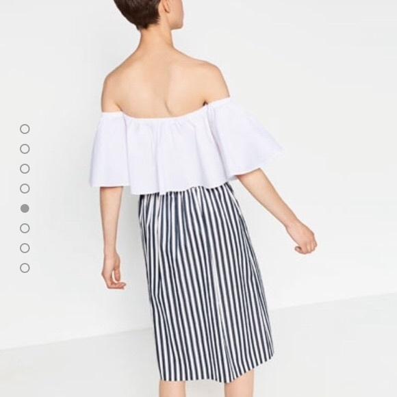 40 zara dresses skirts zara ivory blue taffeta