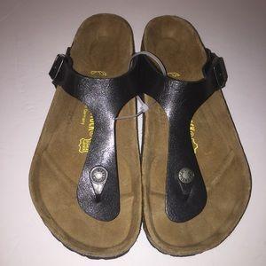 Birkenstock Shoes - Birkenstock Black Gizeh Sandals sz 7/38