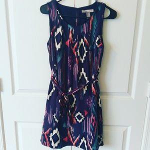Dresses & Skirts - Blue Tribal print dress with tie belt
