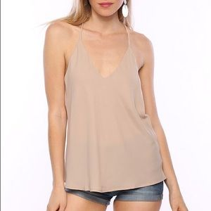 Timing Tops - Beige Nude T-Strap Back Camisole