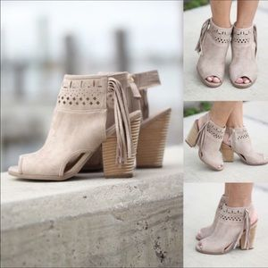 Chic Boho Cream Open Toe Fringe Booties
