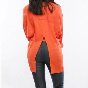 Timing Tops - Orange Split Back V-Neck Top