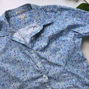 LL Bean Flowered Button Up