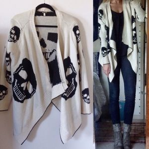 Urban Outfitters Sweaters - Skull black and cream draped sweater