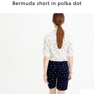 J. Crew Pants - NWOT J. Crew polka dot Bermuda short