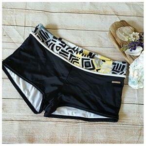 ZeroXposur Other - Zero Exposur Boy Short Bikini Bottoms Black Yellow