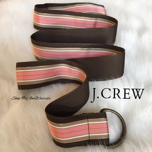 J. Crew brown & pink striped adjustable belt
