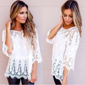 💙NEW IN💙 White Summer Eyelet Loose Casual Top