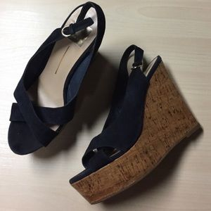 Dolce Vita Shoes - Dolce Vita Navy Suede Peep Toe Wedges - 8