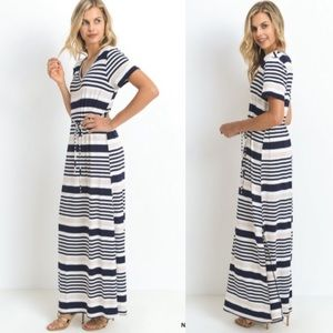 💙NEW IN💙 Navy Striped Waist Tie V Maxi Dress