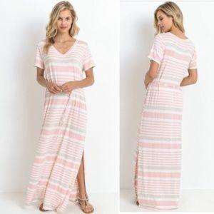 💙NEW IN💙 Soft Pink V Neck Maxi Dress Summer