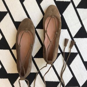 Madewell Shoes - NIB Madewell Olive Lace Up Suede Flats