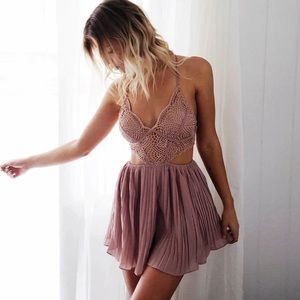 Crochet Pleated Romper