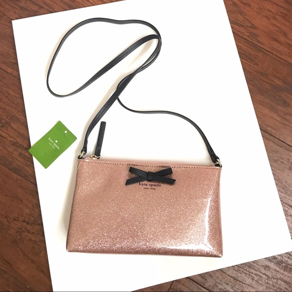 AUTHENTIC Kate Spade Amy Mavis Street Rose Gold Glitter Crossbody Handbag NWT~!
