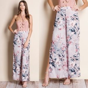 Floral Printed Open Wide Leg Pants