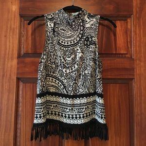 She and Sky Tops - Black & Cream high neck sleeveless blouse- Small