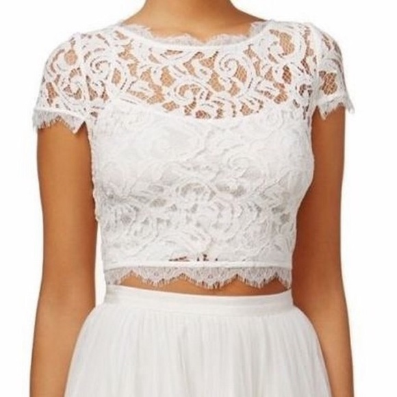 9e67a8edee7 Adrianna Papell Tops   White Lace Crop Top   Poshmark