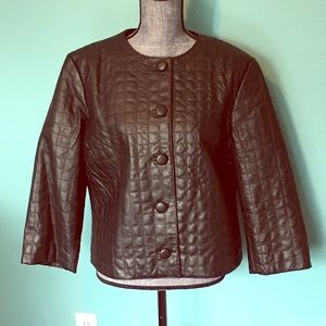 Spiegel Jackets & Coats - Leather Quilted Jacket 3/4 Sleeves Vintage Style