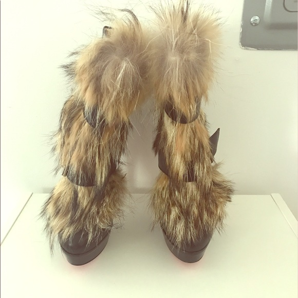 f51bb3fa3ed Christian Louboutin fur boots!!