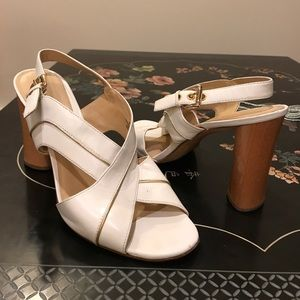 90's vintage white (with gold trim) summer heels!
