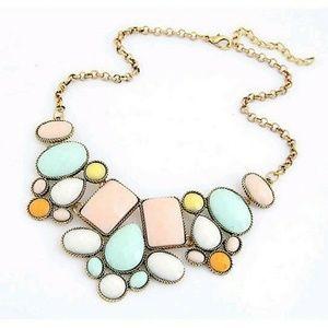 Jewelry - New!! Jeweled Pastel Gemstone Statement Necklace