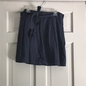 navy with white polka dots skirt