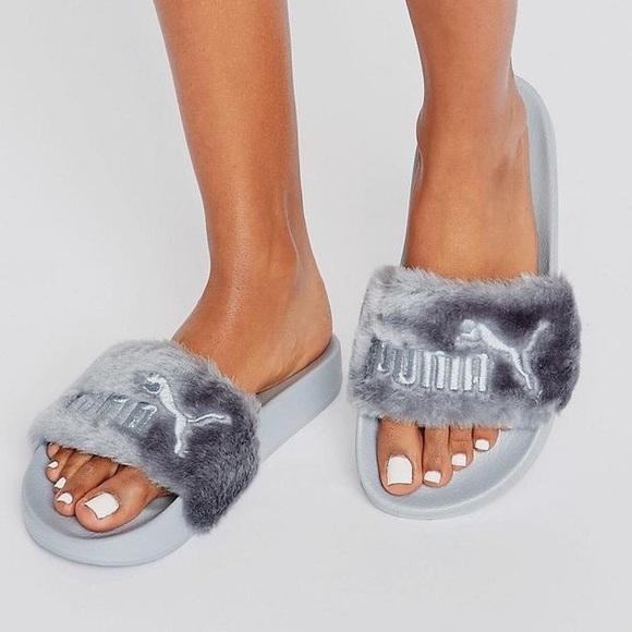 best service 19029 6ffae Fenty x Puma Fur Slides (Grey/Silver)
