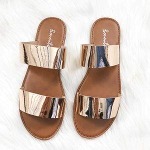 Shoes - Rose Gold Metallic Sandals