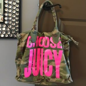 """Juicy Couture camo purse """"choose juicy"""""""