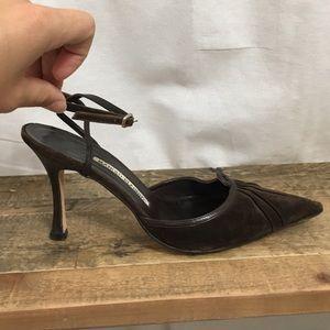 Manolo Blahnik Shoes - Manolo Blahnik Brown Suede Heels
