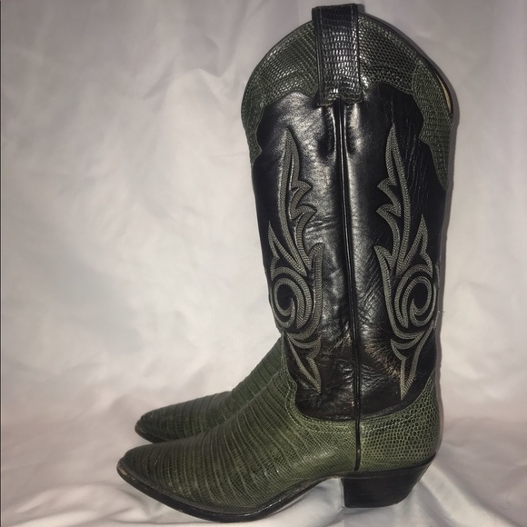 783f0bde699 LEATHER Alligator Skin Cowboy Boots