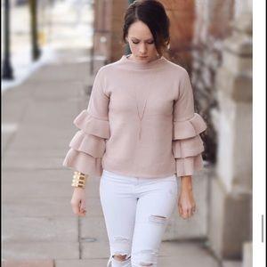 shein Sweaters - Shein Blush sweater with ruffle sleeves