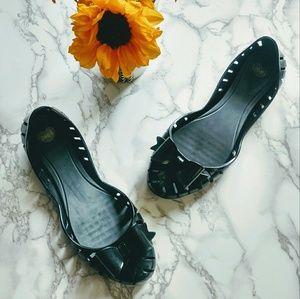Melissa Shoes - Mel by Melissa Black Bow Toe Slit Ballet Flats GUC