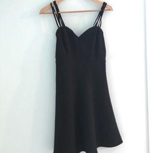 Black Strappy Sweatheart Dress
