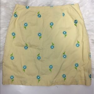 Lilly Pulitzer women's yellow blue floral skirt