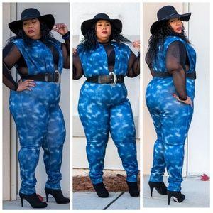 modern and elegant in fashion purchase genuine fashion style Plus size denim print jumpsuit Boutique
