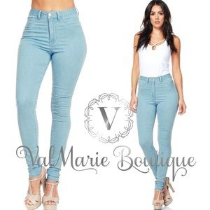 Light Denim High Waist Stretch Jeans