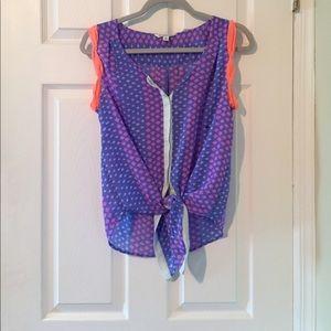 Tie-Front sleeveless top