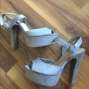 Taupe faux suede heels