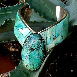 Vintage Sterling Navajo Cuff Inlaid w/ #8Turquoise